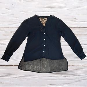 Sheer button up shirt black size small